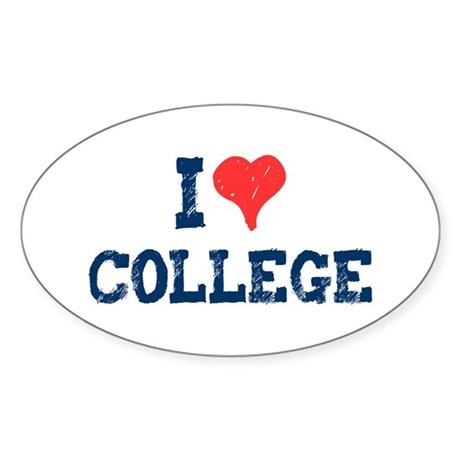 I Love College Oval Sticker
