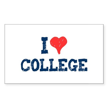 I Love College Rectangle Sticker