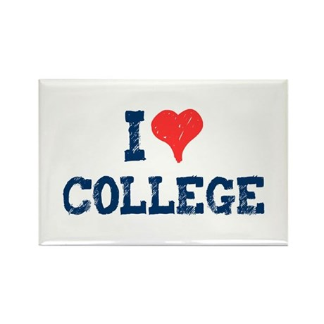 I Love College Rectangle Magnet