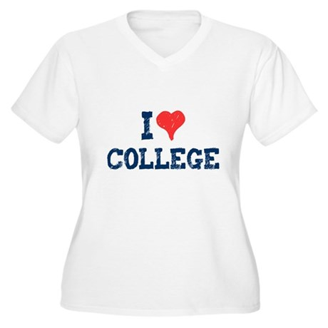 I Love College Plus Size V-Neck Shirt