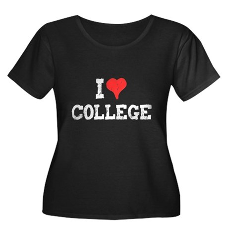 I Love College Womens Plus Size Scoop Neck Dark T