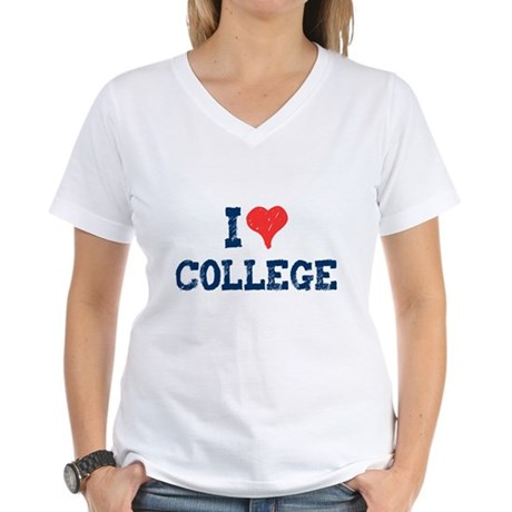I Love College Womens V-Neck T-Shirt
