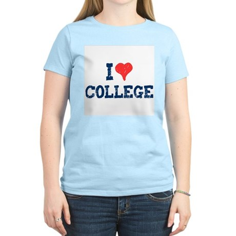 I Love College Womens Light T-Shirt
