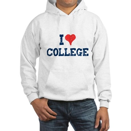 I Love College Hooded Sweatshirt