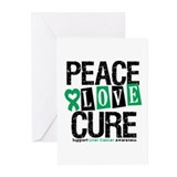Liver Cancer PeaceLoveCure Greeting Cards (Pk of 1