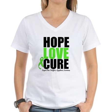 NonHodgkins HopeLoveCure Women's V-Neck T-Shirt