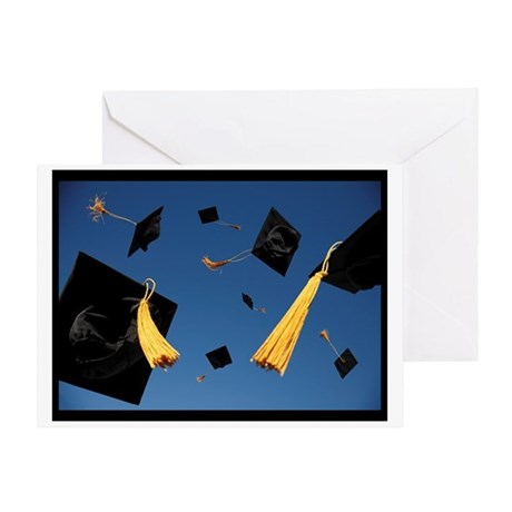 Graduation Hats in Air Greeting Card