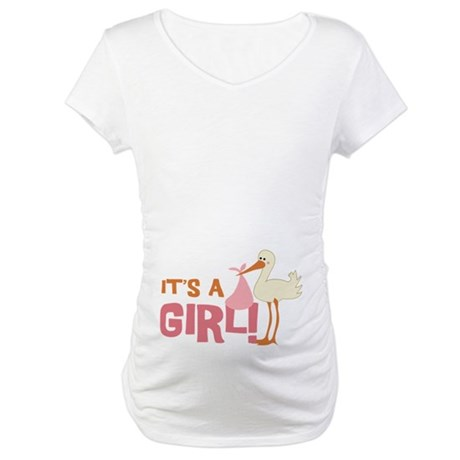 It's a Girl Stork Maternity Shirt