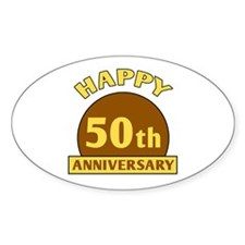 50th Wedding Anniversary Oval Decal