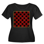 Checkerboard Women's Plus Size Scoop Neck Dark T