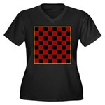 Checkerboard Women's Plus Size V-Neck Dark T-Shirt