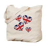 Four British Hearts Tote Bag