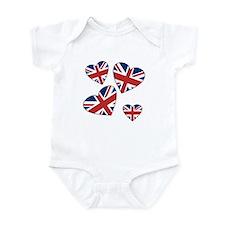 Four British Hearts Infant Bodysuit