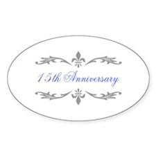 15th Wedding Anniversary Oval Decal