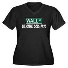 Anti bankers Women's Plus Size V-Neck Dark T-Shirt
