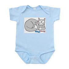 Gray/White ASL Kitty Infant Creeper