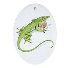 Green Anole Oval Ornament