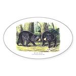 Audubon Black Bear Animal Oval Sticker