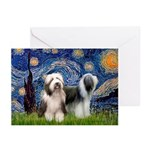 Starry / 2 Bearded Collies Greeting Cards (Pk of 1
