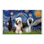 Starry / 2 Bearded Collies Sticker (Rectangle 50 p