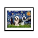 Starry / 2 Bearded Collies Framed Panel Print