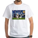 Starry / 2 Bearded Collies White T-Shirt