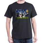 Starry / 2 Bearded Collies Dark T-Shirt