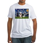 Starry / 2 Bearded Collies Fitted T-Shirt