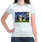 Starry / 2 Bearded Collies Jr. Ringer T-Shirt