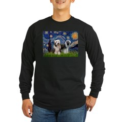 Starry / 2 Bearded Collies Long Sleeve Dark T-Shir