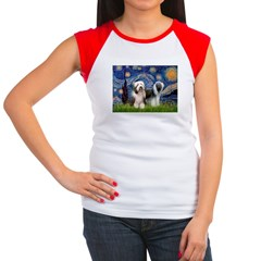 Starry / 2 Bearded Collies Women's Cap Sleeve T-Sh