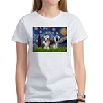 Starry / 2 Bearded Collies Women's T-Shirt