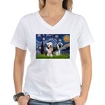 Starry / 2 Bearded Collies Women's V-Neck T-Shirt