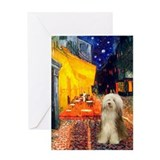 Cafe / Bearded Collie #16 Greeting Card
