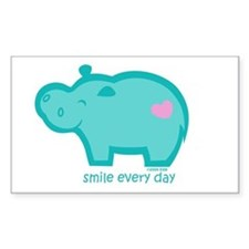 Smile Hippo Rectangle Sticker 50 pk)