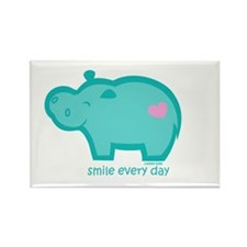 Smile Hippo Rectangle Magnet