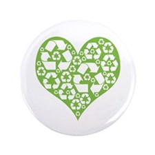 "Green Heart Recycle 3.5"" Button"