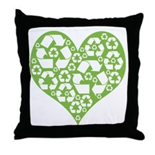 Green Heart Recycle Throw Pillow