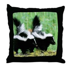 Two Skunks Throw Pillow