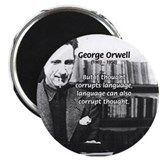 George Orwell: Language Thought 2.25&quot; Magnet (10 p