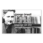 George Orwell: Language Thought Sticker (Rectangul