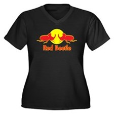 Red Beetle Women's Plus Size V-Neck Dark T-Shirt
