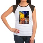 Cafe / Dalmatian #1 Women's Cap Sleeve T-Shirt