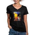 Cafe / Dalmatian #1 Women's V-Neck Dark T-Shirt