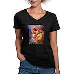 Mandolin / Dalmatian #1 Women's V-Neck Dark T-Shir