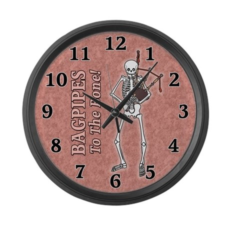 Bagpipes Playing Skeleton Large Wall Clock