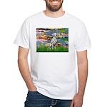 Lilies/ Dalmatian #1 White T-Shirt