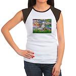 Lilies/ Dalmatian #1 Women's Cap Sleeve T-Shirt