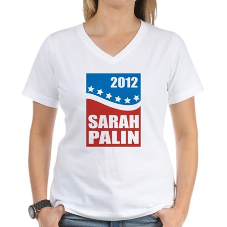 Palin Red White Blue Women's V-Neck T-Shirt
