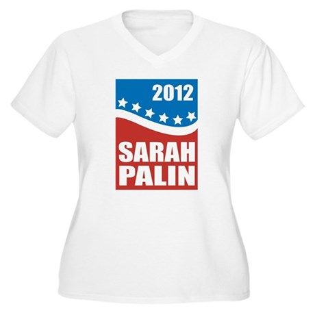 Palin Red White Blue Women's Plus Size V-Neck T-Sh